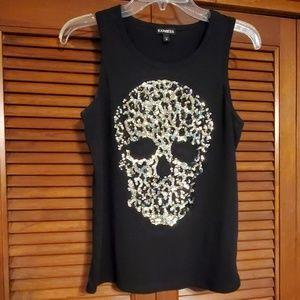 Express sequin skull tank top
